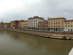 Waterfront view of the Arno River; Pisa