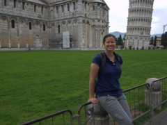 Becky at the Leaning Tower