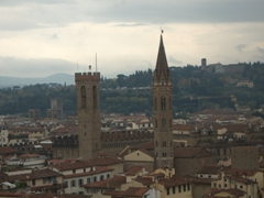 Tower of Palazzo del Bargello and church spire of Badia Fiorentine; Florence skyline