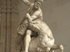 Hercules beating the Centaur Nessus (made entirely out of white marble); Piazza della Signoria