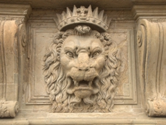 Angry lion carving; Pitti Palace