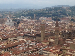 View of the Basilica of Santa Croce along with the towers of the National Museum of Bargello and Badia Florentina