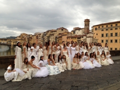 Wedding dress models on Ponte Santa Trinita