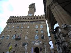 14th-century Palazzo Vecchio and Loggia dei Lanzi; Piazza della Signoria