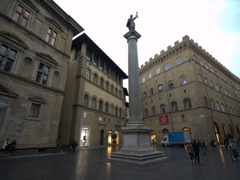 The Piazza Santa Trinita (a triangular square in central  Florence)
