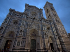Twilight façade of Santa Maria del Fiore Cathedral