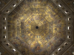 Wide angle view of the mosaic interior of the octogonal dome; Baptistry of Saint John