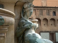 Close up of a lactating nereid at the Fountain of Neptune;  Piazza Maggiore