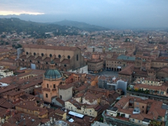 Sunset view of Piazza Maggiore (as seen from Tower of the Asinelli)