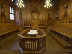 Anatomical theatre of the Archiginnasio where dissections of humans and animals were conducted by candle light on the white marble table