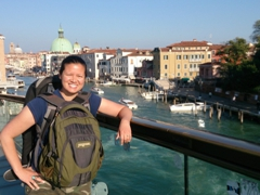 Becky on the Ponte della Costituzione bridge towards Piazzale Roma (to board our Venice cruise)