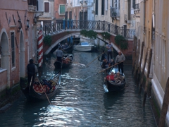Gondolas plying the Venetian waterways