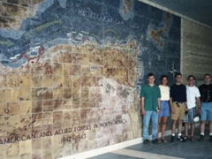 The 5 cadets lucky enough to spend a few weeks (5-24 June 1995) in Tunisia. From L to R: Sean Kilcawley, Becky Clark, Ryan Thomas, Padraic Lilly & Kenneth Bolin. Here we are visiting the North Africa American Cemetery in Carthage