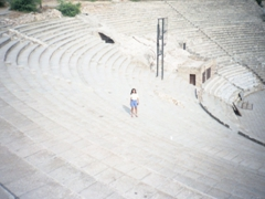 Becky marvels at the size of the well preserved amphitheater of Carthage