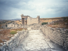 The original winding road leading to Dougga, an ancient Roman city (also considered the best preserved Roman town in North Africa)