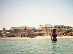 Becky taking a dip; Hammamet