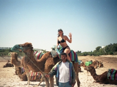 And finally, Becky hops on her camel clad only in a bikini. Only in Tunisia!