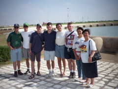 MAJ Keith, Ryan, Pad, Sean, Becky, Ken, Ameera & Dr Foouzia posing in front of the Aghlabid basins; Kairouan
