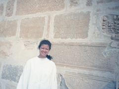 Becky had to don a white robe in order to visit the Kairouan Mosque. Note the Roman stones used to build the mosque