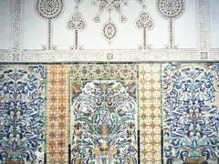 Detail of the magnificent tile work on display at the Zaouia of Sidi Sahab (Mosque of the Barber); Kairouan
