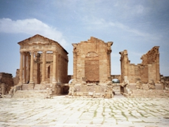 The three temples of Sbeitla, dedicated to the Roman gods Jupiter, Juno and Minerva