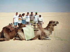 Group photo with our camels: Ken, Ameera, Becky, Pad, Sean, Ryan and our Tunisian camel guide