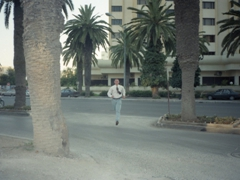 Ken dashing across a Tunis street as we make our way to the US Embassy