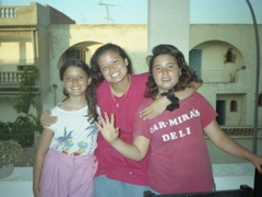 Becky with her Tunisian sisters Anayah & Ameera