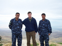 Robby with security guards, Mount Nebo