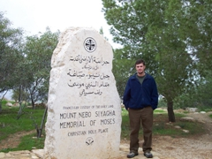 Robby next to the Memorial of Moses; Mount Nebo