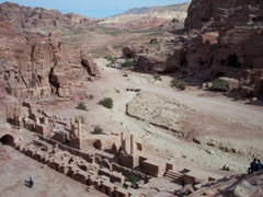 The theatre of Petra offers a commanding view. Petra once served as the capital city of the Nabataeans, and it prospered greatly by being on the old caravan route
