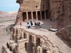 Side view of the Urn Tomb (part of the Royal Tombs of Petra). This tomb is built high on the mountain side, and requires climbing up a flight of stairs