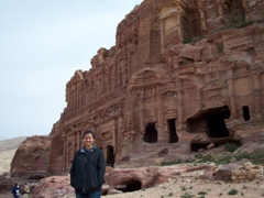 Becky in front of the Corinthian Tomb (part of the Royal Tombs of Petra)
