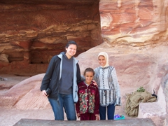 Becky with Bedouin girls; Petra