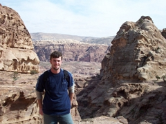 Robby taking in the gorgeous vistas of beautiful Petra