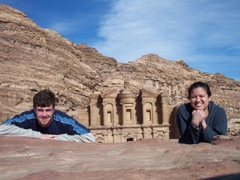 After our 30 minute hike, we finally reached Al-Deir. Here we took a self portrait in front of the Monastery