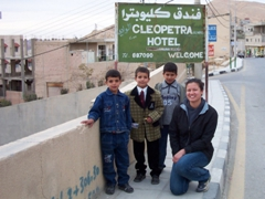 Becky with some smartly dressed young boys, Wadi Musa