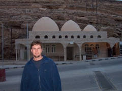 """Robby in front of Ain Musa (Moses' Spring or """"The Rock which Moses Struck""""), Wadi Musa"""