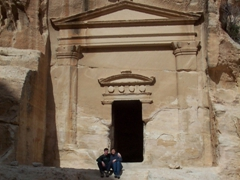 Sitting in front of an Al Beidha (Little Petra) Tomb