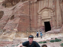 Robby with a young Bedouin girl vendor, Petra