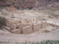Ruins of the Great Temple in the foreground with Qasr al-Bint (the temple of Dushares) in the background; Petra