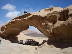 A massive natural arch; Wadi Rum