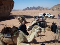 Becky beside her gentle camel, Wadi Rum