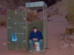 Robby trying out the luxurious facilities, Wadi Rum
