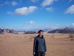 Becky soaking up Wadi Rum