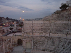 Dusk view of a Roman amphitheater (2nd century, capable of seating 6000); Amman