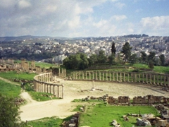A distant view of the Oval Forum; Jerash