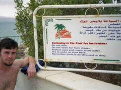 Robby next to Dead Sea instructions