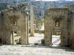 View facing the Cardo Maximus, the main Roman road in Jerash