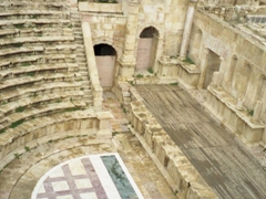 View of the smaller north theater of Jerash (capable of seating 2000 spectators)
